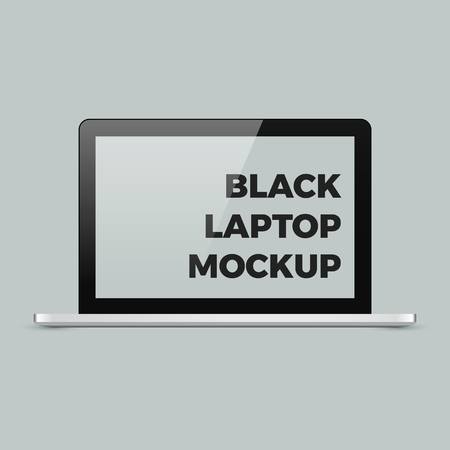 Realistic vector laptop mockup. Shiny glossy black laptop template with empty blank screen with copyspace for your design.