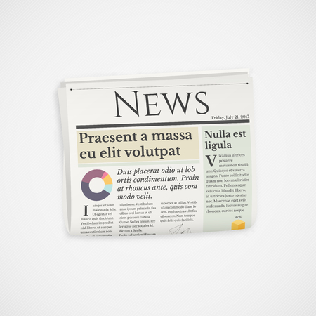Realistic folded newspaper news vector icon Иллюстрация