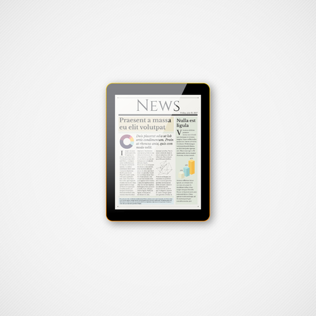 Shiny realistic small vector tablet icon with news screen