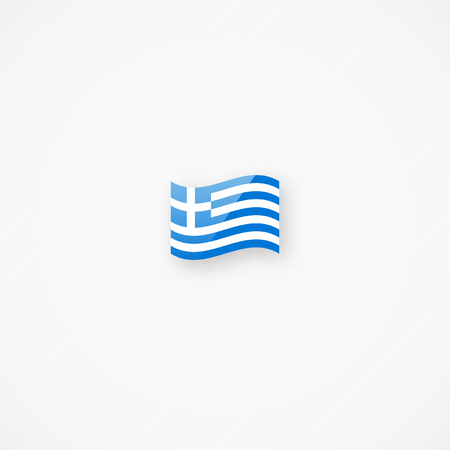 Shiny glossy small waving flag of Greece vector icon