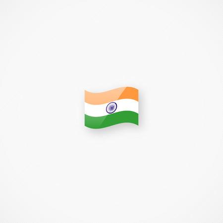 Shiny glossy small waving flag of India vector icon Фото со стока - 108053421