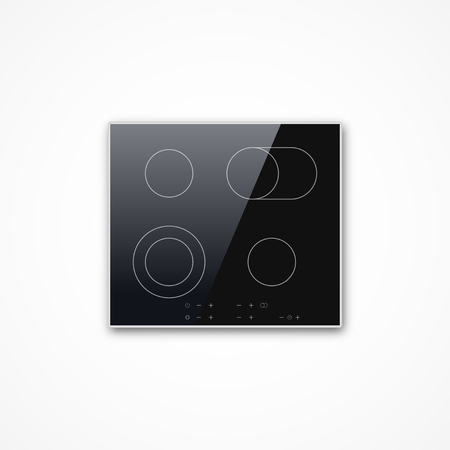 Shiny realistic black vector electric induction cooktop panel glossy icon