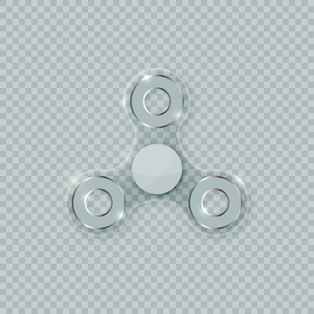 Realistic transparent fidget spinner stress relief toy. Shiny crystal clear spinner vector icon on checkered background. Фото со стока - 108187064
