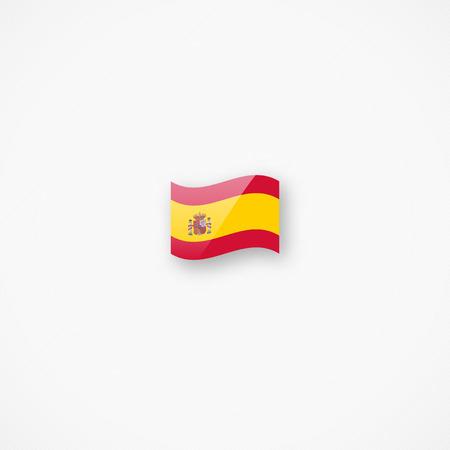 Shiny glossy small waving flag of Spain vector icon