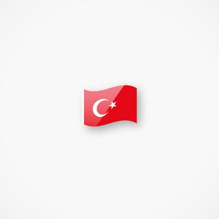 Shiny glossy small waving flag of Turkey vector icon Ilustrace