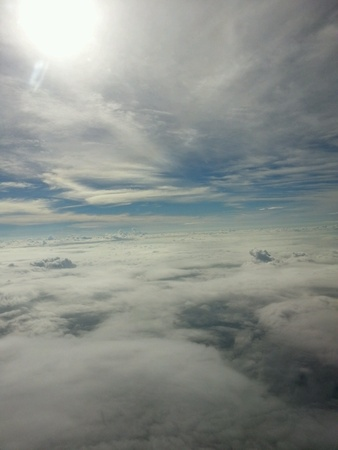 atmosphere: White clouds and blue sky in atmosphere.
