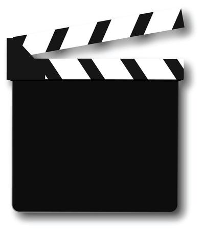 battant: Clapper board sur fond blanc