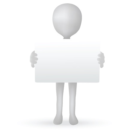 EPS Vector 10 - small 3d man hands holding a board Vector