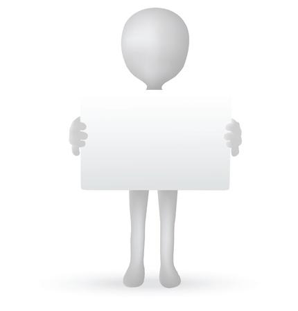 Vecteur EPS 10 - petites mains de l'homme 3d tenant un panneau
