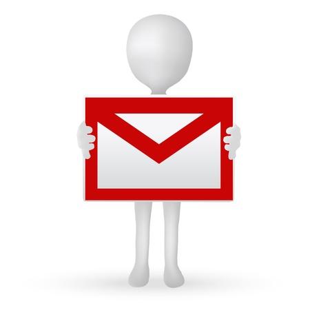 mail man: EPS Vector 10 - peque�os las manos del hombre 3d que sostienen una buz�n de correo electr�nico Vectores