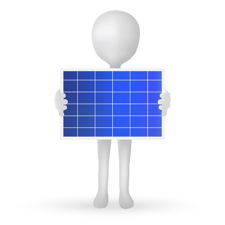 EPS Vector 10 - small 3d man hands holding a solar panel Vector