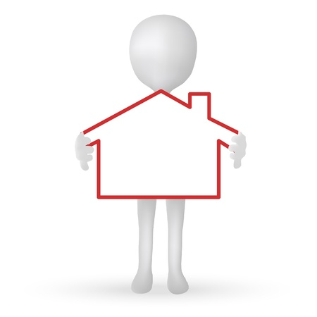 small house: EPS Vector 10 - small 3d man hands holding a house Illustration