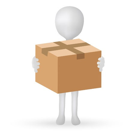 EPS Vector 10 - small 3d man hands holding a box Stock Vector - 18586792