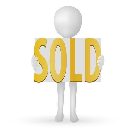 sold small: EPS Vector 10 - uomo piccolo 3d mani azienda parole venduti