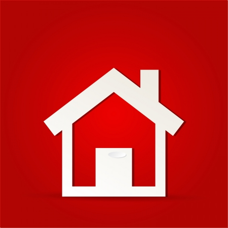 House icon design with isolated on red Stock Illustratie