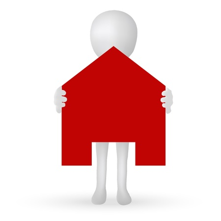 EPS Vector 10 - small 3d man hands holding a house Stock Illustratie