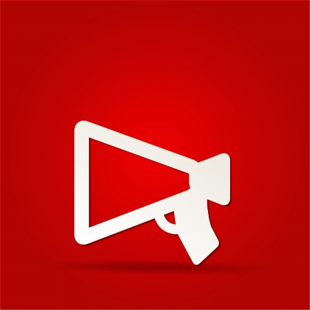 public speaker: loudspeaker as announcement icon on isolated on red