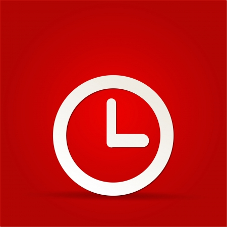 vector clock icon on red background Vector