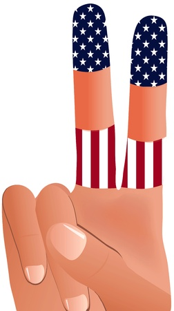 nonverbal: EPS Vector 10 of  male hand gesturing peace sign in United States Flag