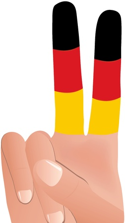 EPS Vector 10 of  male hand gesturing peace sign in German Flag Stock Vector - 19108340