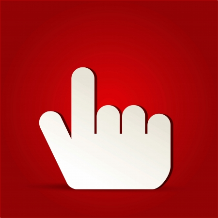 EPS Vector 10 - finger click icon on isolated on red Stock Vector - 19108420