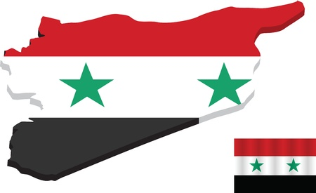 EPS Vector 10 - Map of Syria with Flag Vector