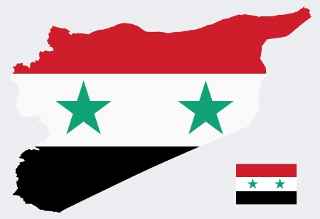 나일 강: EPS 벡터 10 - 국기와 시리아의지도