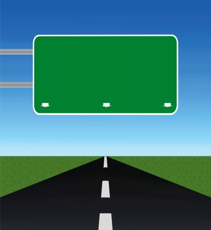 empty road through fields with blank road-sign Vector