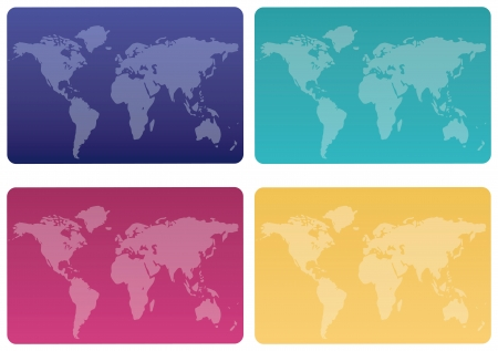Credit cards with world map