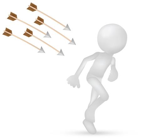 runaway: Ilustraci?n del hombre 3d que va de flechas