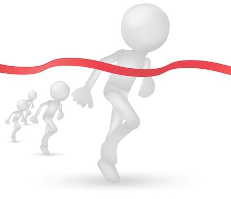 Illustration of 3d humans crossing the finishing line Vector