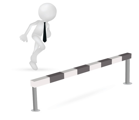 business jump: Illustration of 3d business man running to jump through a barrier Illustration