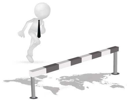 Illustration of 3d business man running to jump through a barrier Stock Vector - 19505917