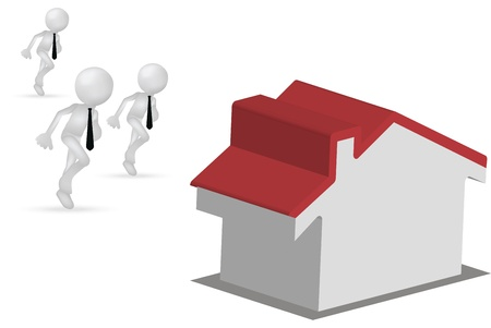 Illustration of 3d men running for a house or for the home Vector