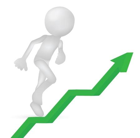 Illustration of 3d business men running climbing for success Stock Vector - 19505909