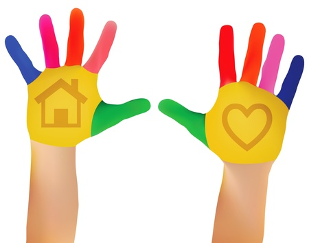 Child hands painted in colorful paints ready for hand prints Stock Illustratie