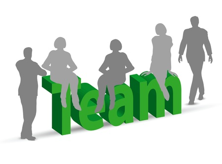 team word in 3d with people Stock Vector - 19985406