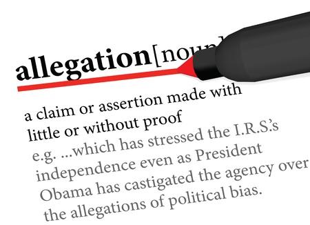 Dictionary definition of allegation Illustration