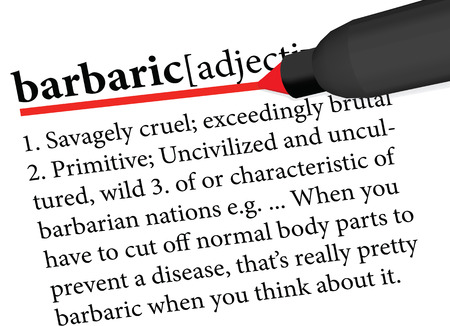 dictionary term of barbaric isolated on white background