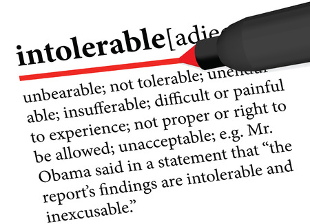 unacceptable: dictionary term of intolerable isolated on white background