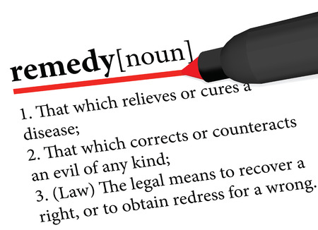 remedy: dictionary term of remedy isolated on white background