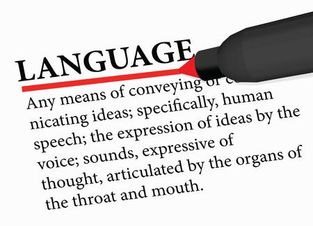 dictionary term of language isolated on white background Illustration