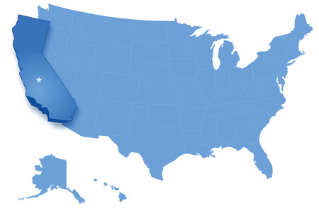 pulled: Political map of United States with all states where California is pulled out