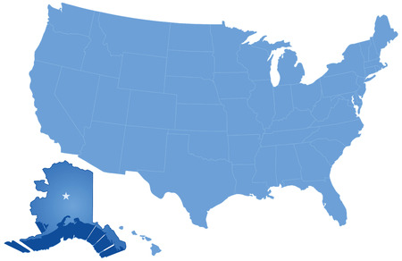 where: Political map of United States with all states where Alaska is pulled out Illustration