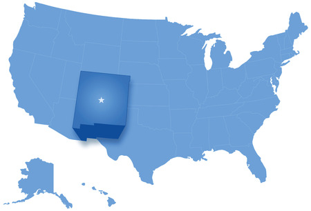 pulled: Political map of United States with all states where New Mexico is pulled out
