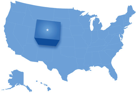 pulled: Political map of United States with all states where Colorado is pulled out