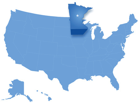 where: Political map of United States with all states where Minnesota is pulled out