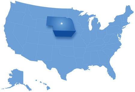 pulled: Political map of United States with all states where Nebraska is pulled out