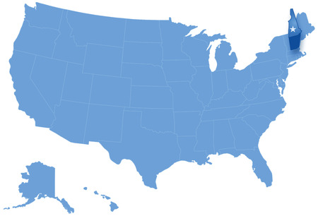 pulled: Political map of United States with all states where New Hampshire is pulled out