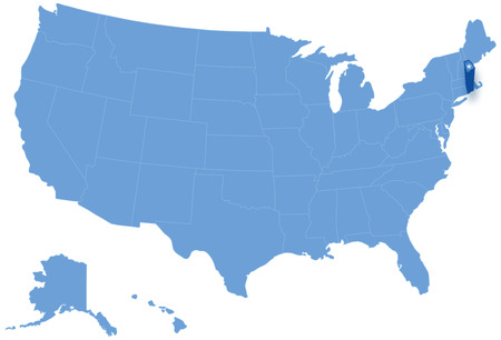 Political map of United States with all states where Rhode Island is pulled out